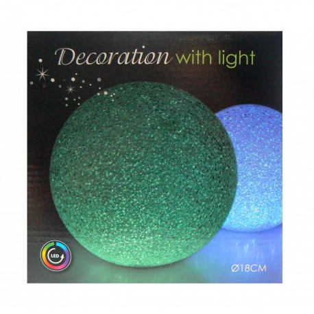 Podświetlana kula LED Multikolor 18 cm
