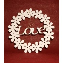 Okrągła drewniana ozdoba z napisem LOVE