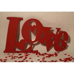 PIANKOWA OZDOBA Z NAPISEM LOVE CZERWONA