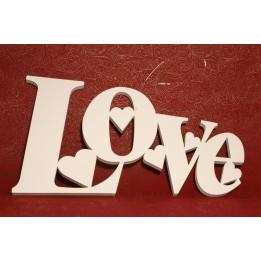 PIANKOWA OZDOBA Z NAPISEM LOVE BIAŁA